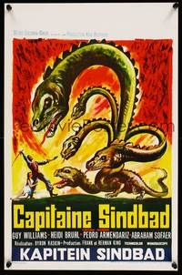 2b062 CAPTAIN SINDBAD Belgian '63 1001 deathless thrills, cool art of Williams fighting hydra!
