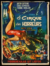 2b075 CIRCUS OF HORRORS Belgian '60 outrageous horror art of sexy trapeze girl hanging by neck!