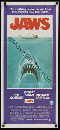 2j464 JAWS Aust daybill 75 art of Steven Spielbergs classic man-eating shark attacking swimmer