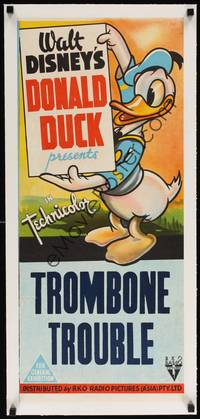 2z183 TROMBONE TROUBLE linen Aust daybill 44 Walt Disney great full-length image of Donald Duck