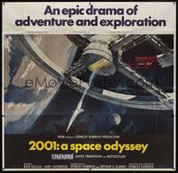 3a001 2001: A SPACE ODYSSEY 6sh '68 Stanley Kubrick, art of space wheel by Bob McCall, Cinerama!