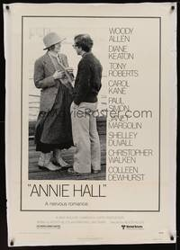 3a037 ANNIE HALL 1sh '77 full-length Woody Allen & Diane Keaton in a nervous romance!