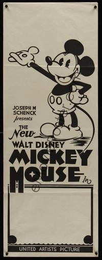 3a041 NEW WALT DISNEY MICKEY MOUSE long Aust daybill 32 great cartoon image with pie-cut eyes