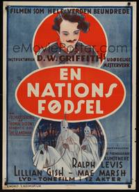 3a045 BIRTH OF A NATION Danish R22 D.W. Griffith's classic post-Civil War tale of the Ku Klux Klan!