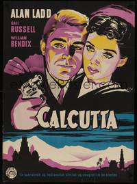 3a046 CALCUTTA Danish '49 cool different art of Alan Ladd with gun & sexy Gail Russell by BTS!