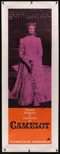 3a110 CAMELOT linen door panel '68 full-length image of Vanessa Redgrave as Guenevere!