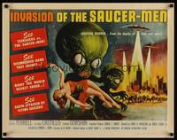 3a113 INVASION OF THE SAUCER MEN 1/2sh '57 classic Kallis art of cabbage head aliens & sexy girl!
