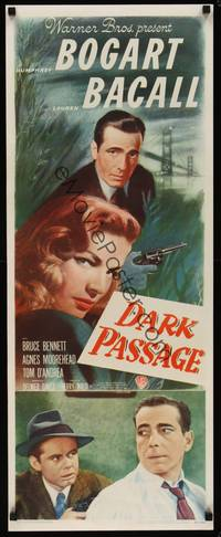 3a124 DARK PASSAGE insert '47 great close up of Humphrey Bogart with gun & sexy Lauren Bacall!