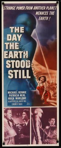 3a125 DAY THE EARTH STOOD STILL insert '51 Robert Wise, different art of Gort & Patricia Neal!