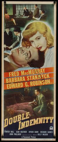 3a126 DOUBLE INDEMNITY insert '44 Billy Wilder, fantastic image of Barbara Stanwyck & MacMurray!