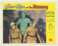 3a277 ABBOTT & COSTELLO MEET THE MUMMY LC #2 '55 c/u of monster Eddie Parker holding Bud & Lou!