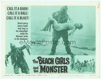 3a283 BEACH GIRLS & THE MONSTER LC #2 '65 best close up of wacky sea monster holding sexy girl!
