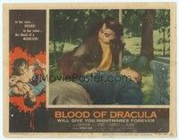 3a289 BLOOD OF DRACULA LC #3 '57 best close up of female vampire Sandra Harrison with male victim!