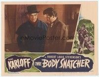 3a260 BODY SNATCHER LC '45 close up of creepy Boris Karloff in top hat with Russell Wade!