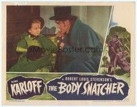 3a261 BODY SNATCHER LC '45 close up of creepy Boris Karloff in top hat with Sharyn Moffett!