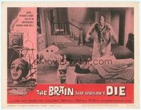 3a291 BRAIN THAT WOULDN'T DIE LC #4 '62 great image of cone-headed guy by naked girl under sheet!