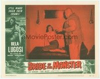 3a255 BRIDE OF THE MONSTER LC #4 '56 Ed Wood, giant Tor Johnson stands by screaming girl in cell!