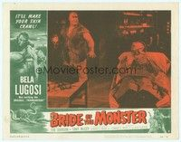3a252 BRIDE OF THE MONSTER LC #5 '56 Ed Wood, Tor Johnson watches Bela Lugosi strapped to table!