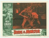 3a256 BRIDE OF THE MONSTER LC #7 '56 Ed Wood, giant Tor Johnson winning fight in laboratory!