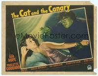 3a236 CAT & THE CANARY LC '39 best close up of homicidal maniac threatening sexy Paulette Goddard!
