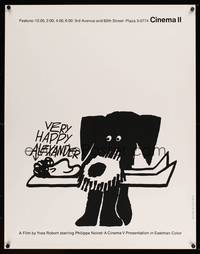 3a021 ALEXANDER limited edition 26x33 silkscreen '67 art of Philippe Noiret & his dog by Saul Bass!