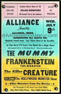 3a149 ALLIANCE THEATRE WED. JULY 9TH Spook Show WC '58 The Mummy, Frankenstein & Creature in person!