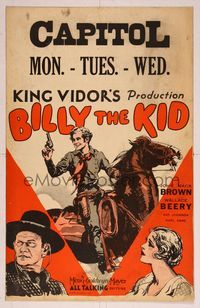 3a151 BILLY THE KID WC '30 King Vidor, great artwork of Johnny Mack Brown on horse with gun!