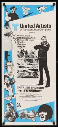 4e816 MECHANIC stock Aust daybill 72 Charles Bronson he has more than a dozen ways to kill