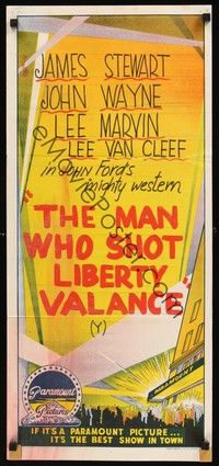 4e857 PARAMOUNT Aust daybill 60s stock The Man Who Shot Liberty Valance