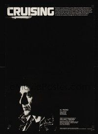 4g079 CRUISING B&W Japanese '80 William Friedkin, cool close-up of undercover cop Al Pacino!