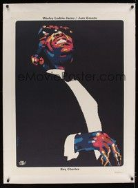 4z331 RAY CHARLES: JAZZ GREATS linen commercial Polish 27x38 '90 cool art playing piano by Swierzy!