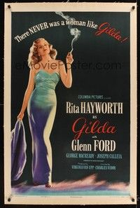 5a001 GILDA style B linen 1sh'46 most classic full-length image of ultra-sexy smoking Rita Hayworth!