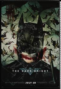 5f160 DARK KNIGHT wilding 1sh '08 cool playing card image of Christian Bale as Batman!