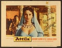 5g022 ATTILA signed LC #1 '58 by Sophia Loren, who is in a super sexy close up wearing jewels!