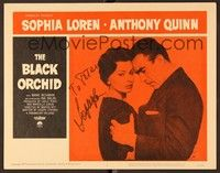 5g024 BLACK ORCHID signed LC #3 '59 by Sophia Loren, who's in close up held by Anthony Quinn!