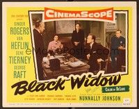 5g025 BLACK WIDOW signed LC #3 '54 by Gene Tierney, who's sitting with concerned Van Heflin!