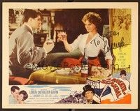 5g027 BREATH OF SCANDAL signed LC #7 '60 by Sophia Loren, who's smiling & toasting with John Gavin!