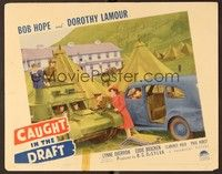 5g029 CAUGHT IN THE DRAFT signed LC '41 by Dorothy Lamour, who's staring at Bob Hope driving tank!
