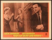 5g033 DAYS OF WINE & ROSES signed LC #7 '63 by alcoholic Jack Lemmon, who's hiding from Lee Remick!