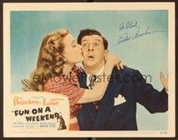 5g038 FUN ON A WEEKEND signed LC #5 '47 by Eddie Bracken, who's being kissed by Priscilla Lane!