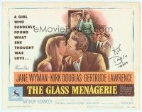 5g019 GLASS MENAGERIE signed TC '50 by Kirk Douglass, who's kissing Jane Wyman, Tennessee Williams!