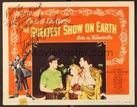 5g044 GREATEST SHOW ON EARTH signed LC #2 '52 by Charlton Heston, who's glaring at Hutton & Wilde!