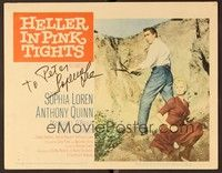 5g045 HELLER IN PINK TIGHTS signed LC #1 '60 by Sophia Loren, who's blonde & with Anthony Quinn!