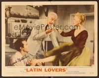 5g051 LATIN LOVERS signed LC #2 '53 by Ricardo Montalban, who's rubbing Lana Turner's foot!