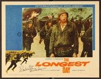 5g052 LONGEST DAY signed LC #4 '62 by Robert Mitchum, who's standing full-length in uniform!
