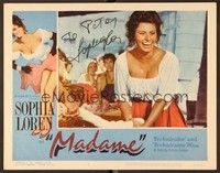 5g056 MADAME SANS GENE signed LC #8 R63 by Sophia Loren, who smiling in super sexy close up!