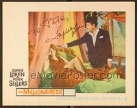 5g059 MILLIONAIRESS signed LC #7 '60 by Sophia Loren, who's laughing in bed by Peter Sellers!