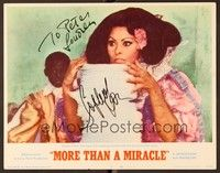5g060 MORE THAN A MIRACLE signed LC #2 '67 by Sophia Loren, who's with a huge stack of dishes!