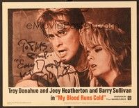 5g062 MY BLOOD RUNS COLD signed LC #1 '65 by Troy Donahue, who's in close up with Joey Heatherton!