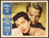 5g064 NIGHT HAS A THOUSAND EYES signed LC #1 '48 by John Lund, in a romantic c/u with Gail Russell!